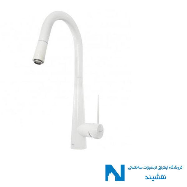شیر ظرفشویی شاوری ( شلنگدار ) شودر مدل ایتن سفید کروم
