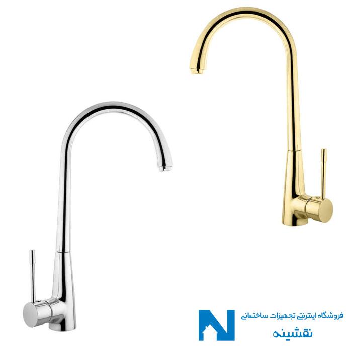 شیرسینک ظرفشویی البرز روز مدل آبنوس رنگ کروم و طلایی