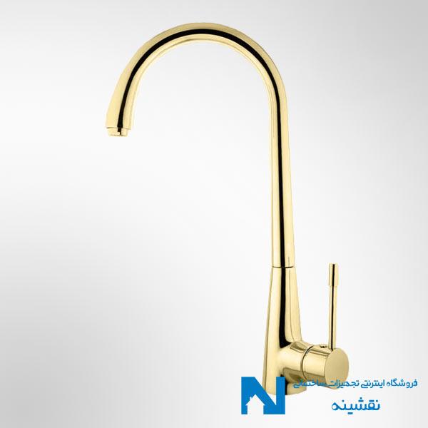 شیر سینک ظرفشویی البرز روز مدل آبنوس رنگ طلایی