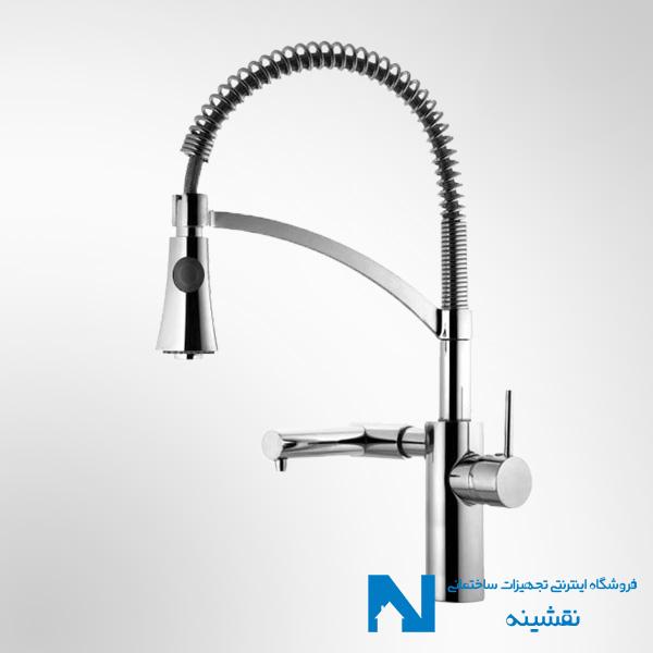 شیر سینک ظرفشویی دو منظوره البرز روز مدل آبشار رنگ کروم