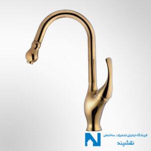 شیر سینک ظرفشویی شاوری البرز روز مدل ارکیده رنگ طلایی