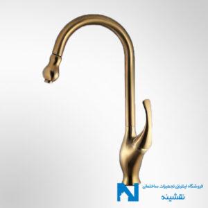 شیر سینک ظرفشویی شاوری البرز روز مدل ارکیده رنگ طلامات