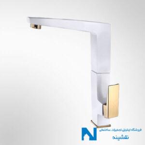 شیر سینک ظرفشویی البرز روز مدل ابلیک رنگ سفید طلایی