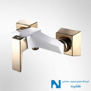 شیر توالت البرز روز مدل ابلیک رنگ سفید طلایی