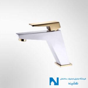 شیر روشویی البرز روز مدل ابلیک رنگ سفید طلایی