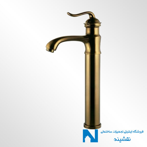 شیر روشویی پایه بلند البرز روز مدل اسپیرال رنگ طلامات