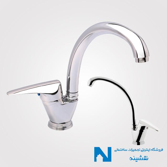 شیر سینک ظرفشویی اهرمی البرز روز مدل باران رنگ کروم