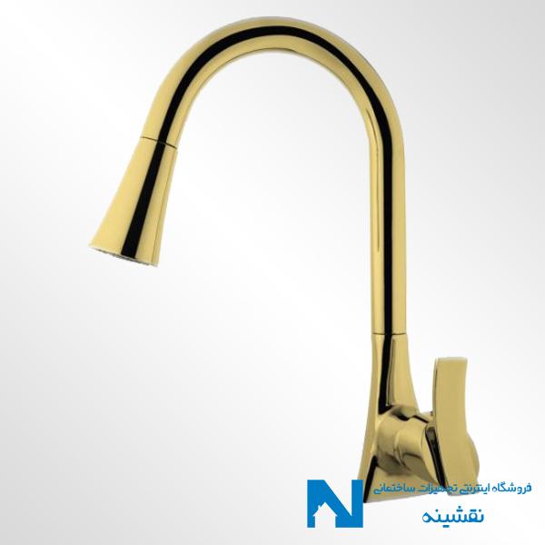 شیر ظرفشویی شاوری البرز روز مدل پیرامید رنگ طلایی