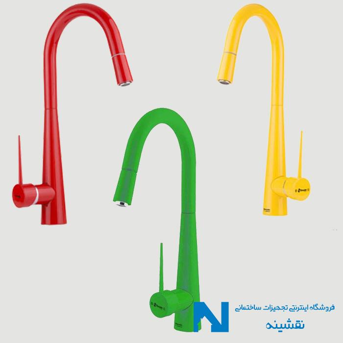 شیر سینک ظرفشویی شلنگدار شودر مدل ایتن رنگی